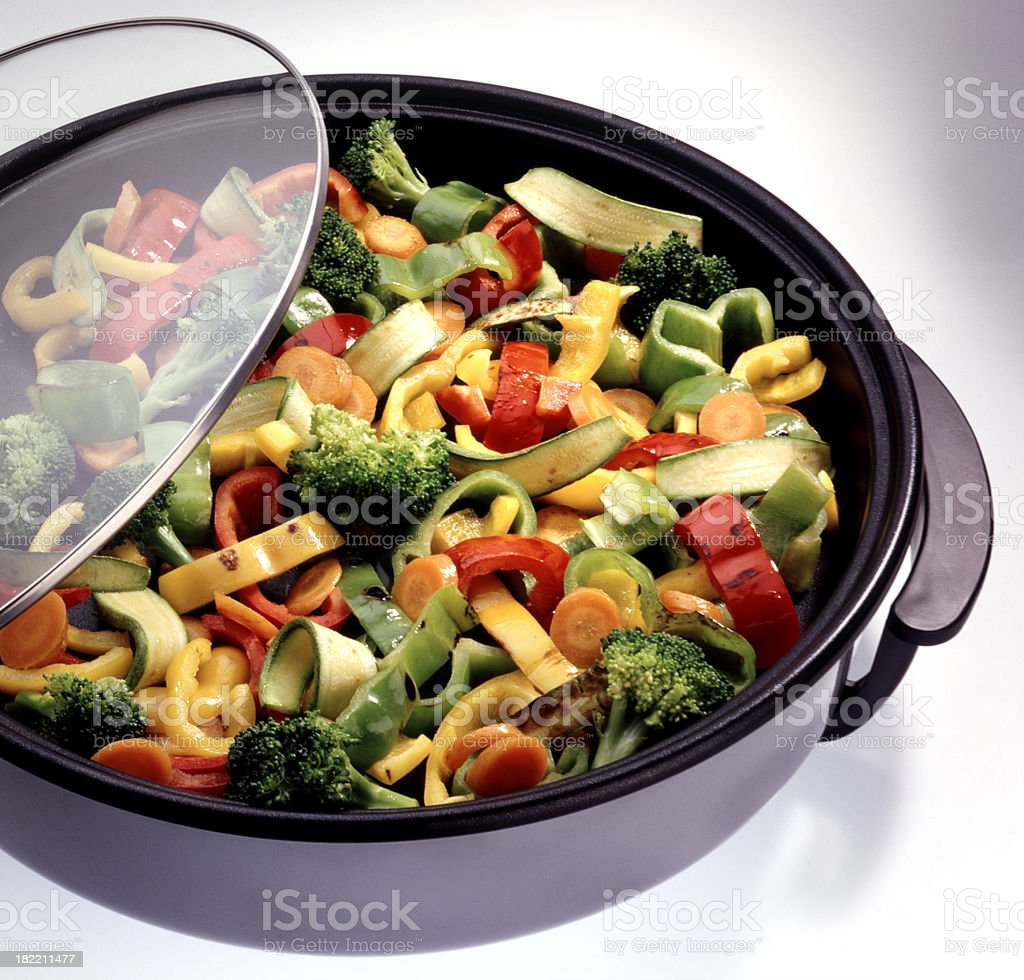 Vegetable mix cooked in a crock pot stock photo