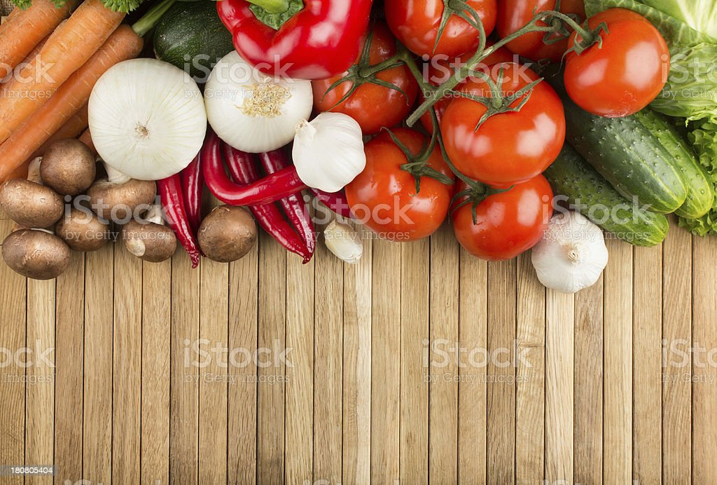 Vegetable mix on wooden surface royalty-free stock photo