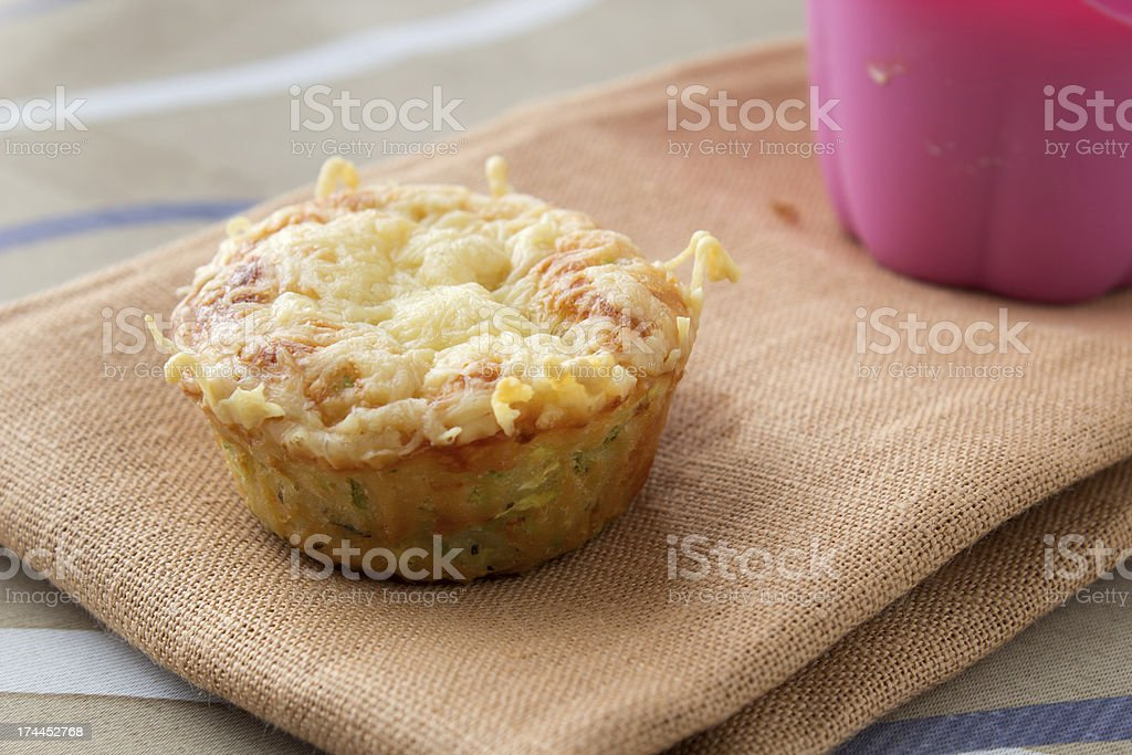 A vegetable muffin on a gauze cloth royalty-free stock photo