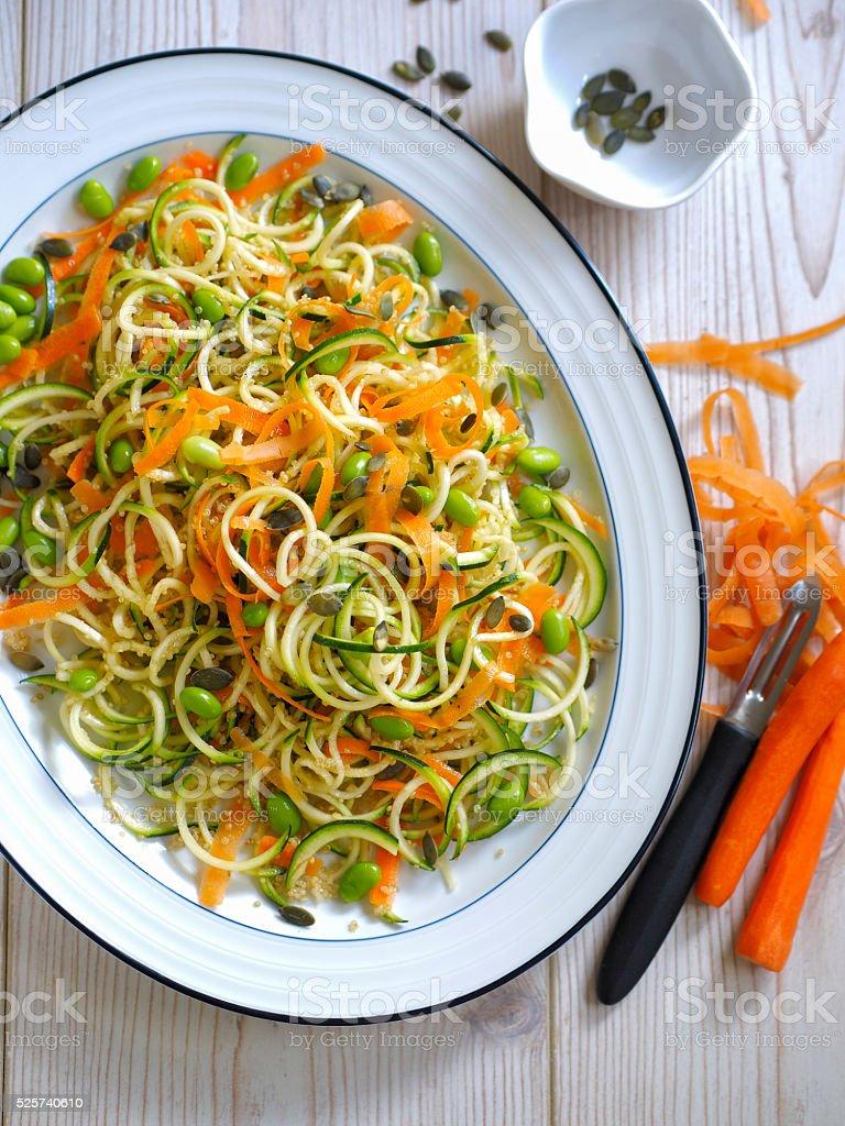 vegetable noodles quinoa salad stock photo