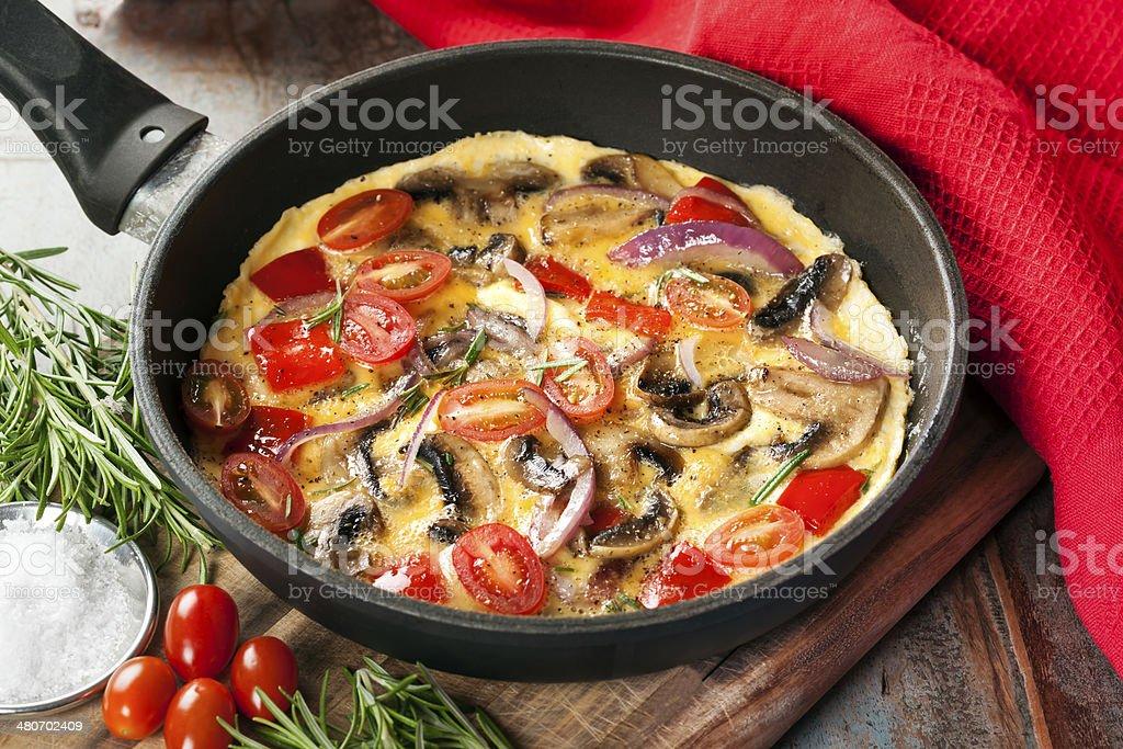 Vegetable Omelet in Skillet royalty-free stock photo