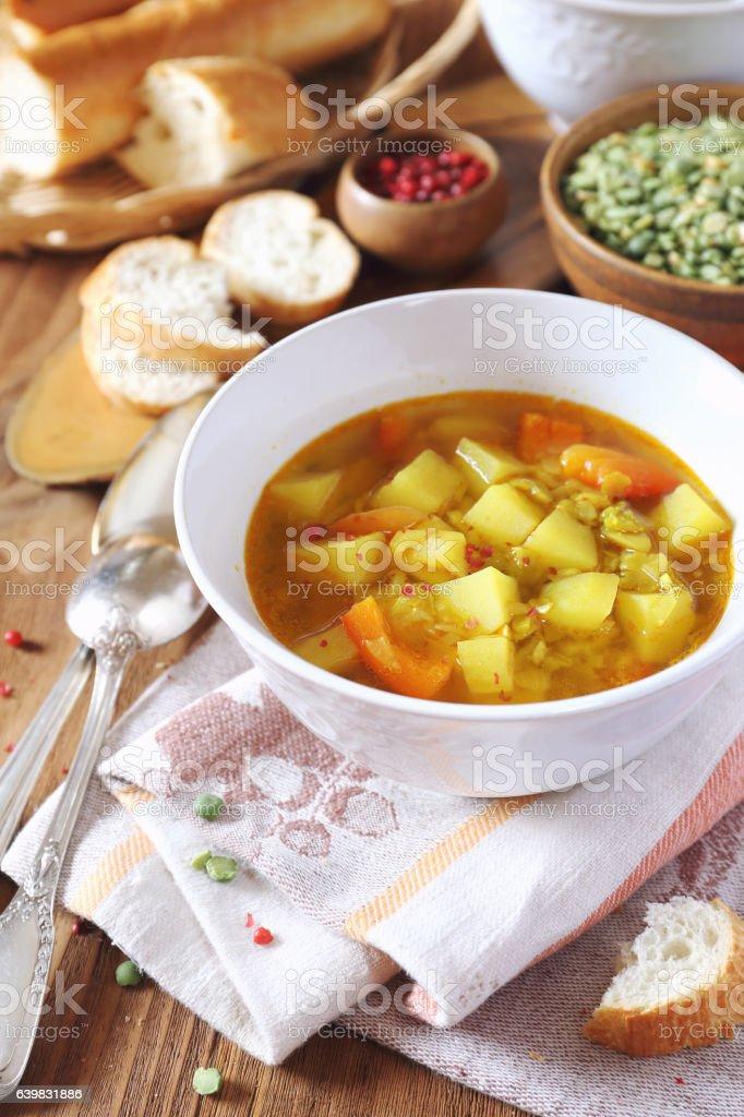 Vegetable pea soup stock photo