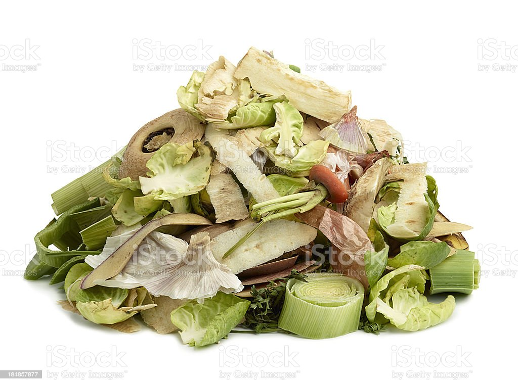 Vegetable peelings for the compost stock photo