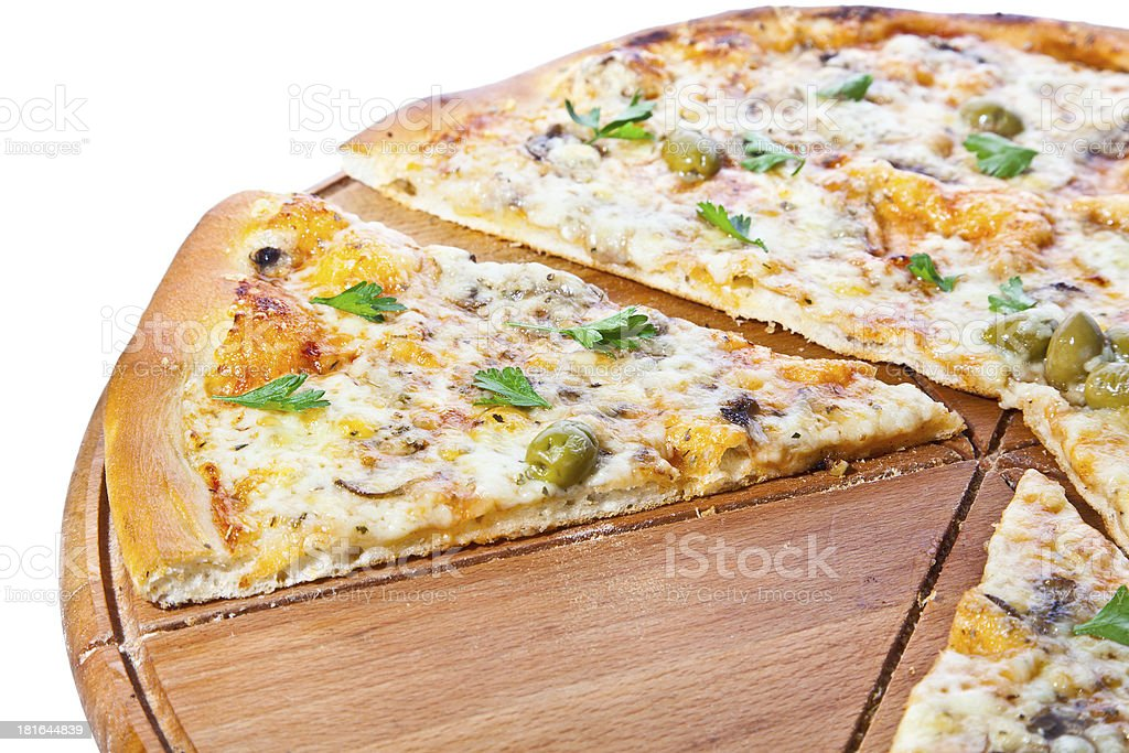 Vegetable pizza made from bio cheese, olive, mushroom, parsley royalty-free stock photo