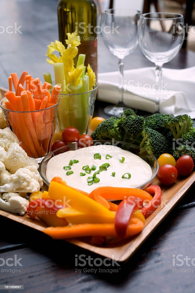Vegetable platter and dip stock photo