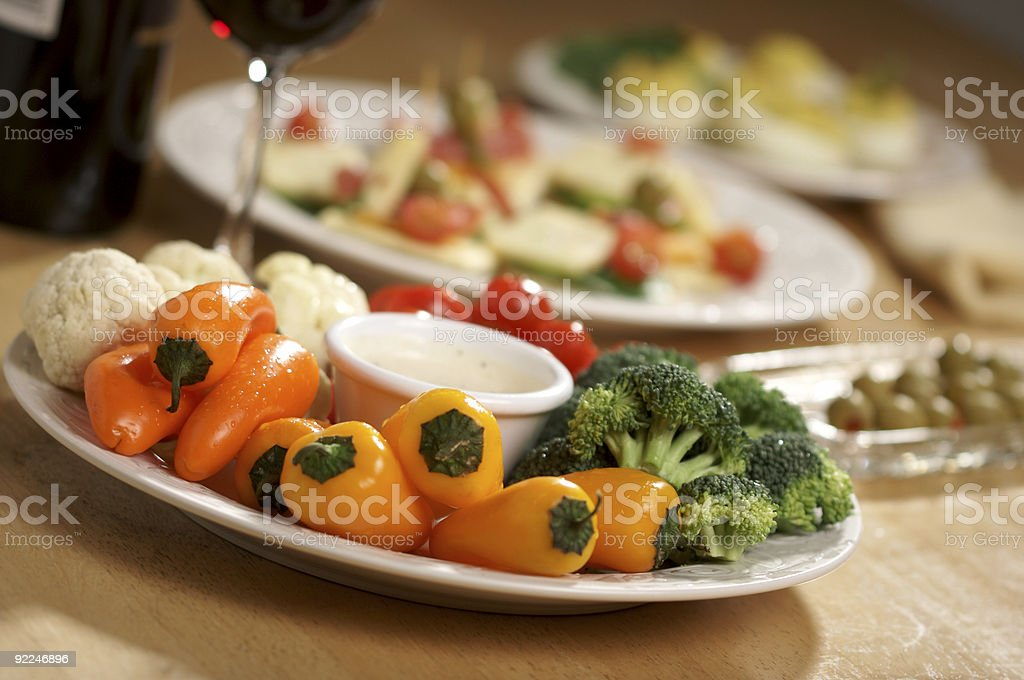 Vegetable Platter, Dip and Other Appetizers royalty-free stock photo