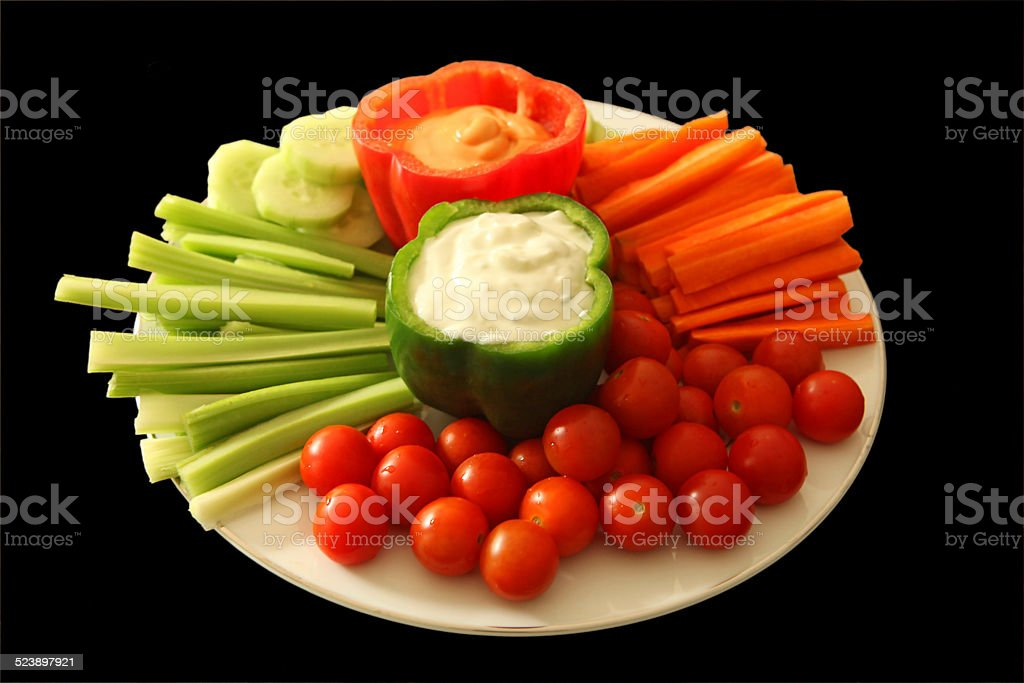 Vegetable Platter with Dip Sauce stock photo