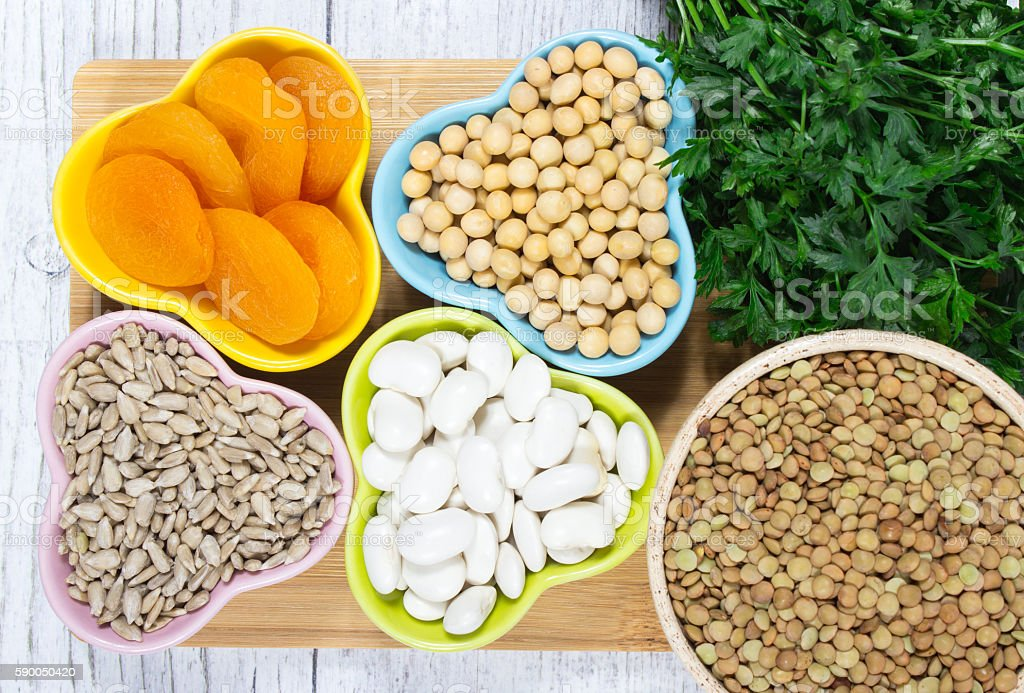 Vegetable products containing iron (ferrum). stock photo