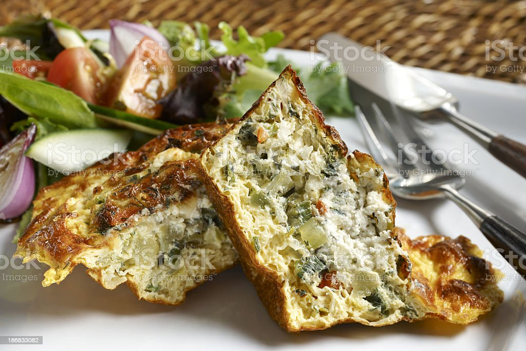 Vegetable Quiche with garden Salad, healthy Eating stock photo