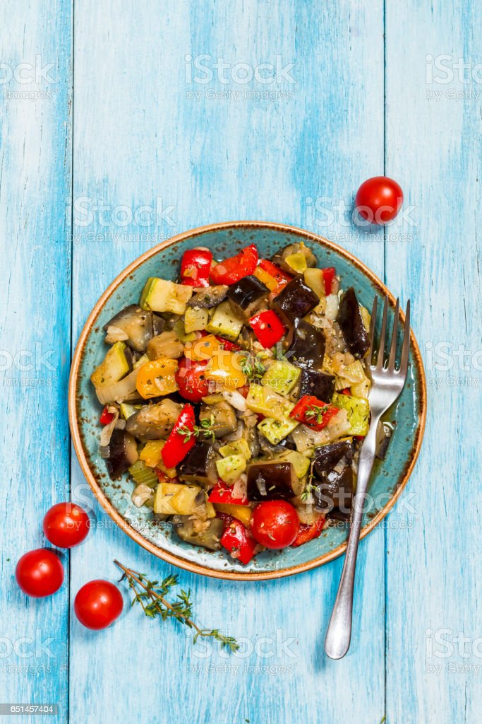 Vegetable ratatouille in a plate stock photo