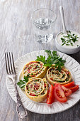 Vegetable roll on a wooden table