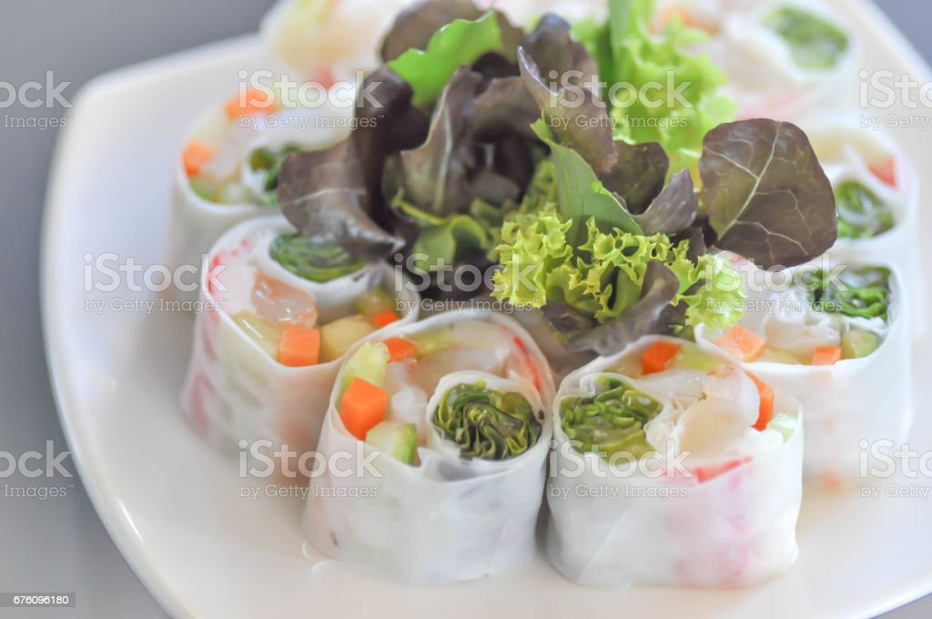 vegetable roll or fresh spring roll stock photo