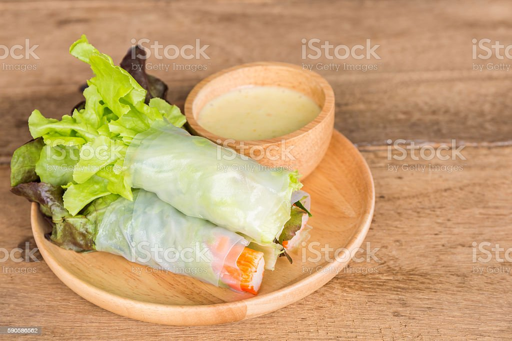 Vegetable salad in wooden plate. stock photo