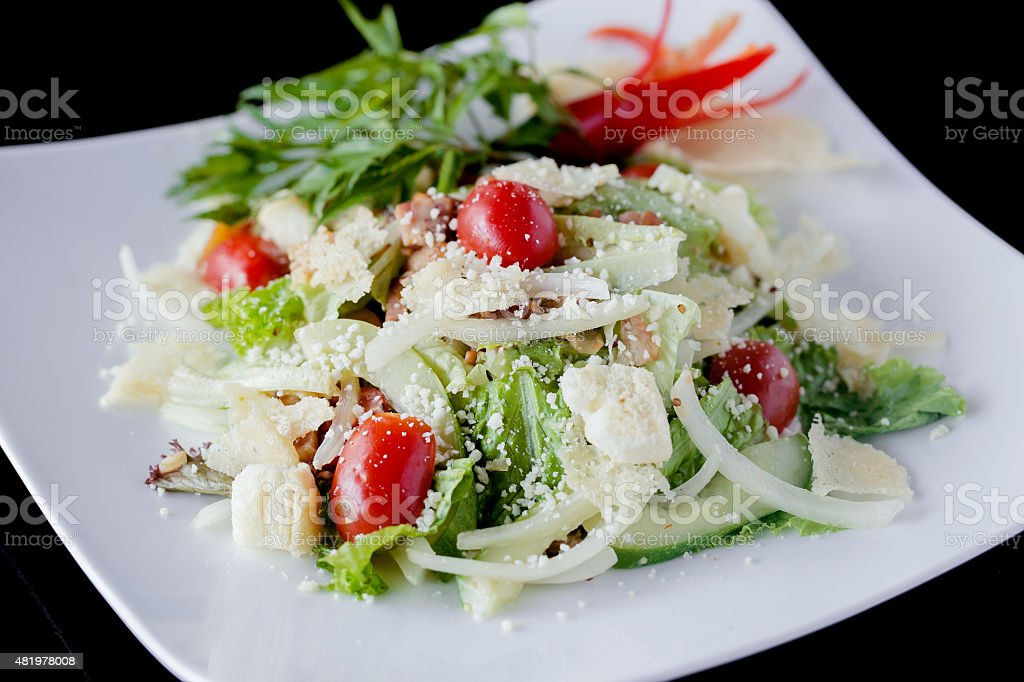 vegetable salad with bread stock photo