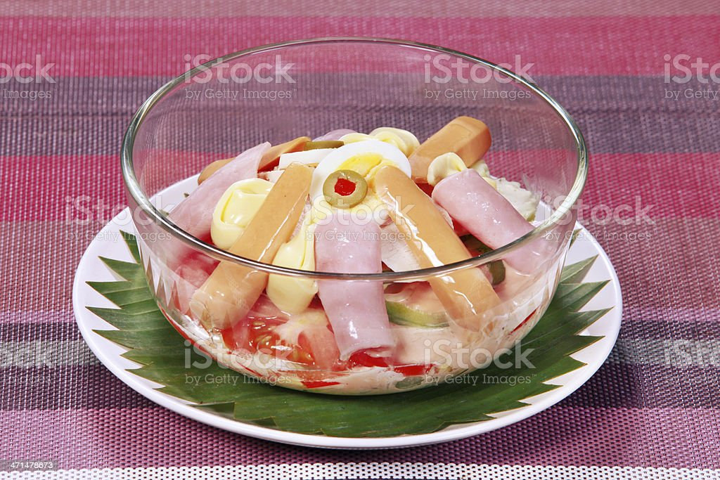 Vegetable salad with cheese royalty-free stock photo
