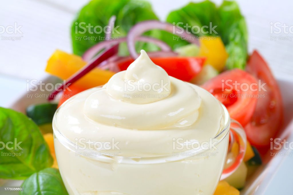 Vegetable salad with dressing royalty-free stock photo