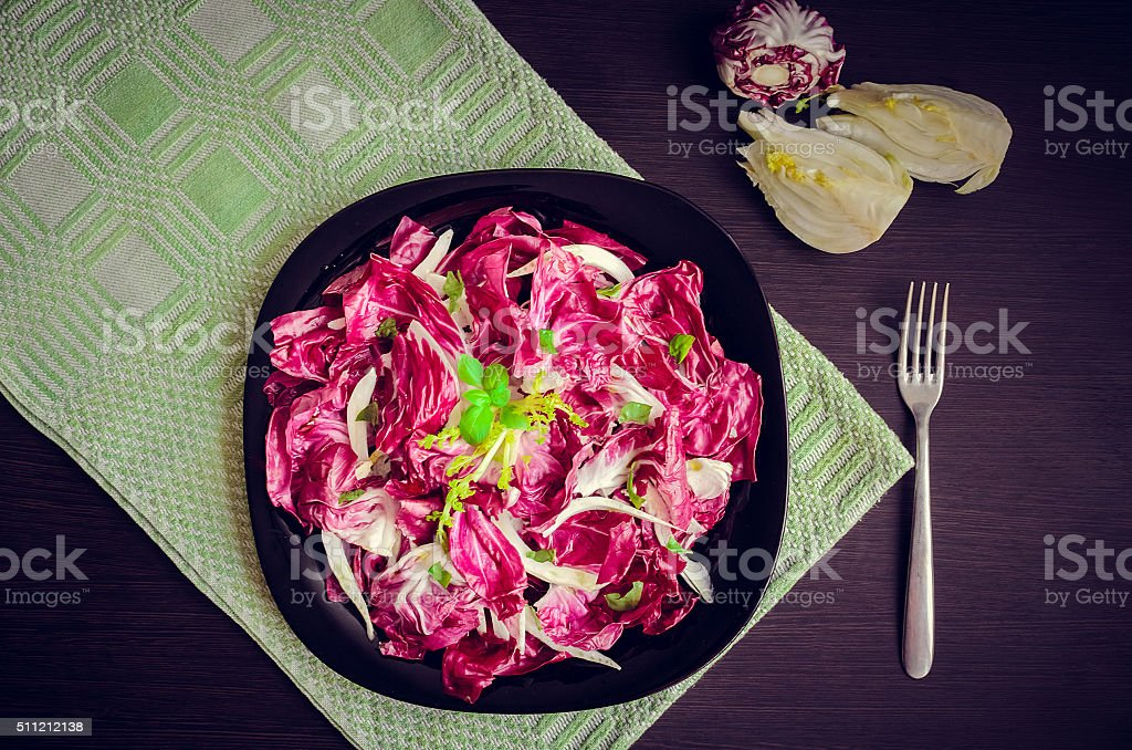 Vegetable salad with endive and fennel stock photo