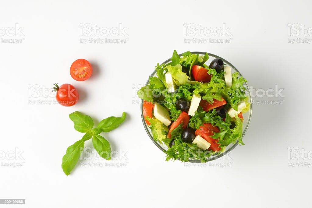 vegetable salad with feta stock photo