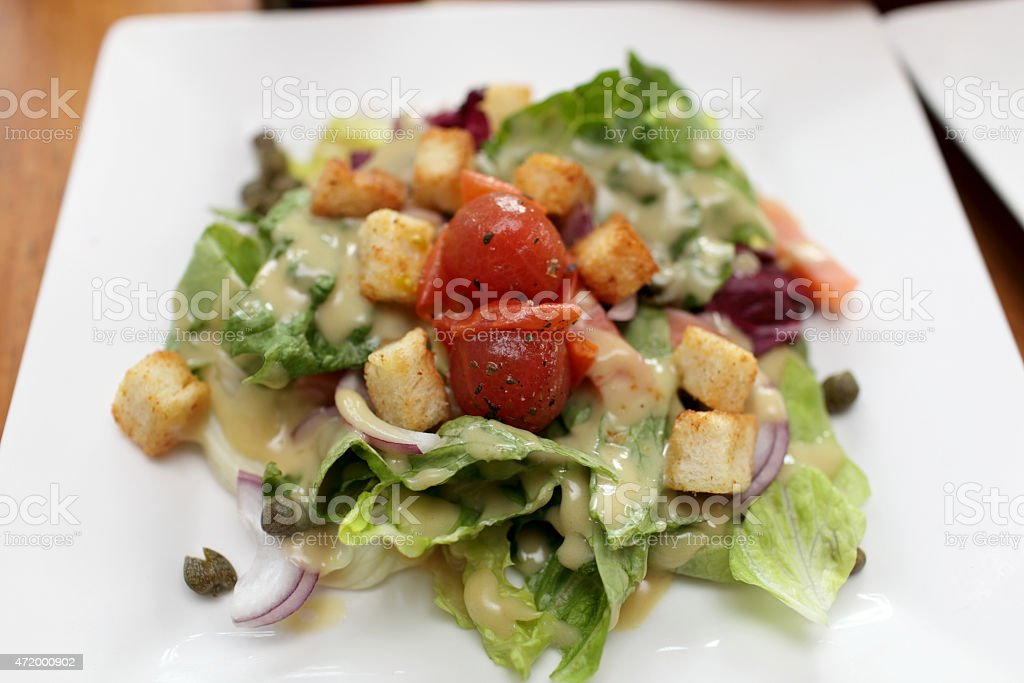 Vegetable salad with fish stock photo