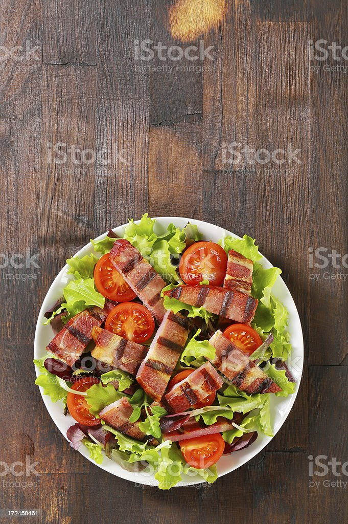 vegetable salad with grilled pork meat royalty-free stock photo