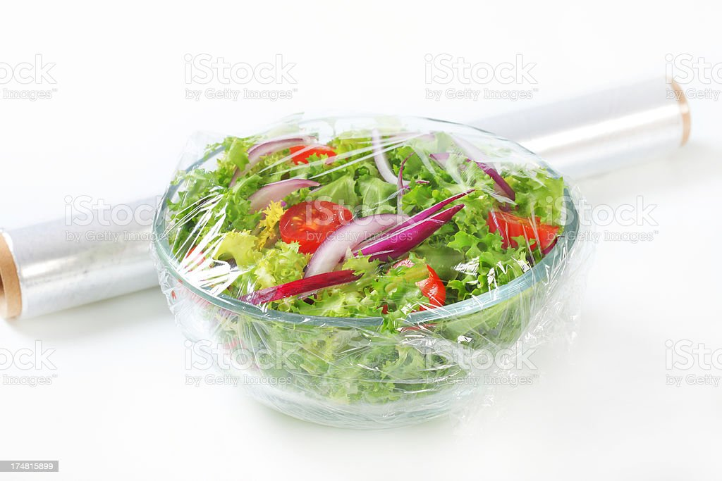 vegetable salad with plastic film royalty-free stock photo