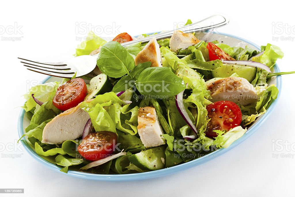 Vegetable salad with roasted chicken meat royalty-free stock photo
