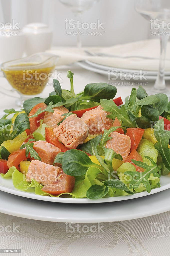 Vegetable salad with salmon royalty-free stock photo