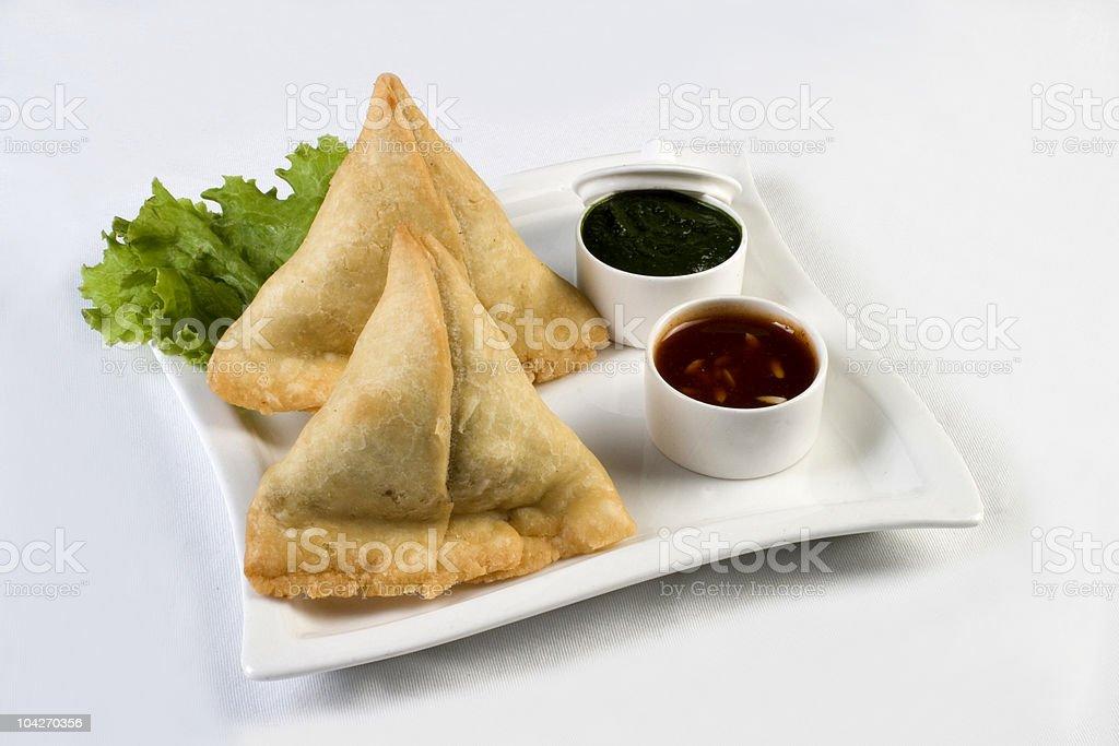 Vegetable samosas - indian food stock photo