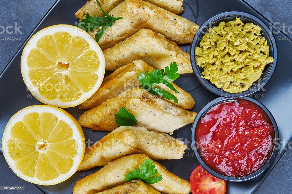 Vegetable samosas with spices stock photo