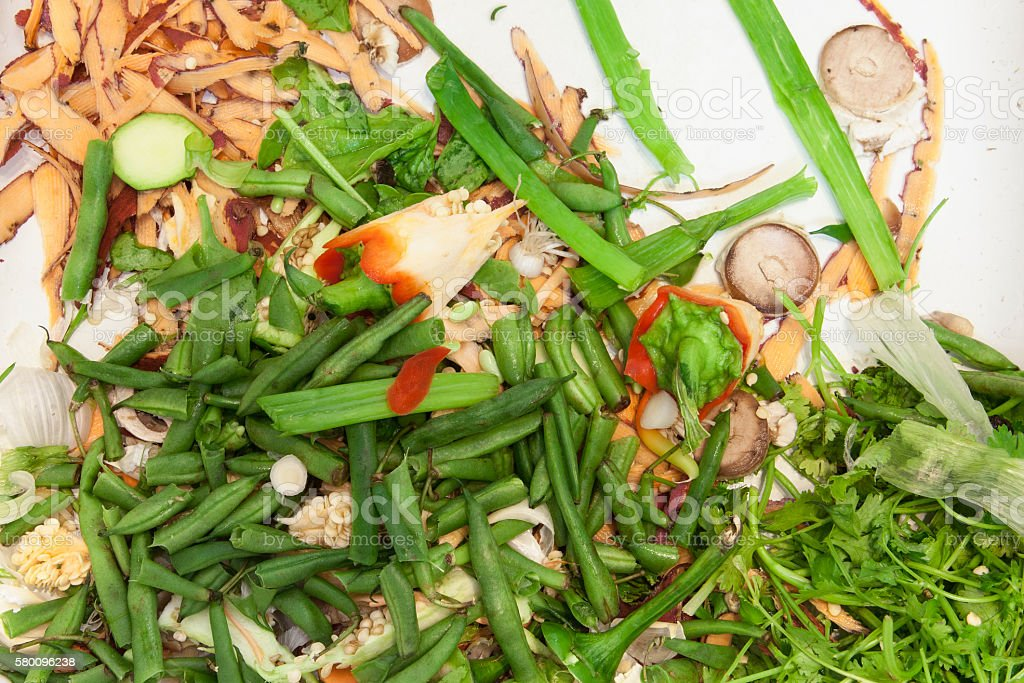 Vegetable Scraps for Compost in Kitchen Sink stock photo