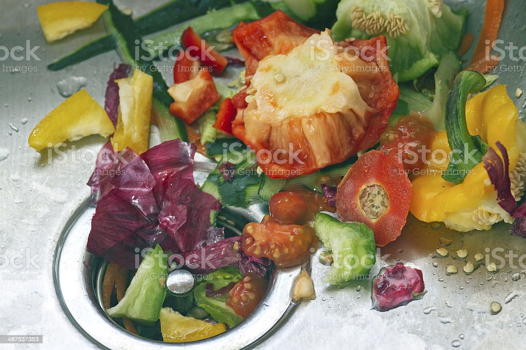 Vegetable Scraps In a Sink stock photo