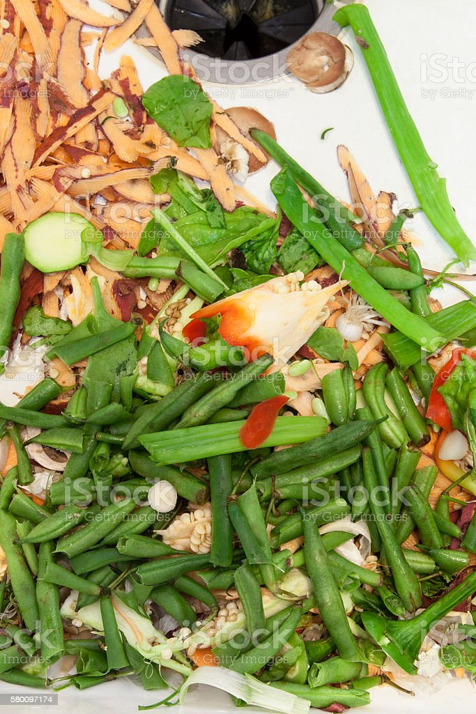 Vegetable Scraps in Kitchen Sink stock photo
