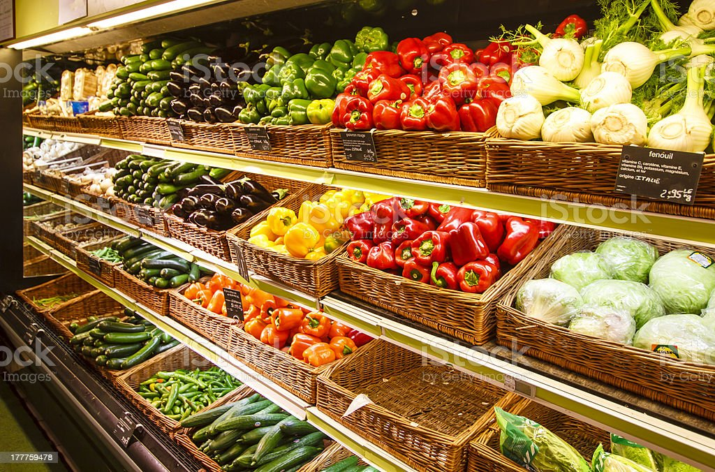 Vegetable section of store in Paris, France stock photo