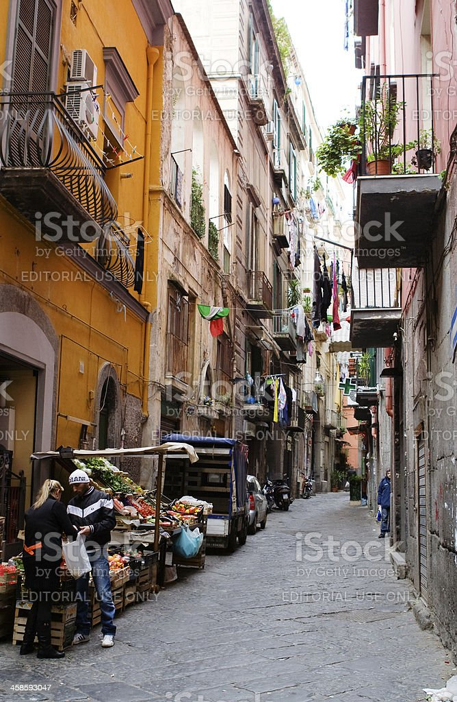 Vegetable Seller in a Street of Naples, Italy royalty-free stock photo