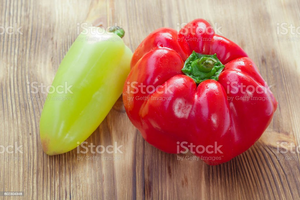 Vegetable set of two red and green peppers stock photo