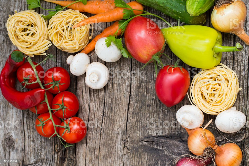 Vegetable set on a wooden background. Top view. Close-up stock photo