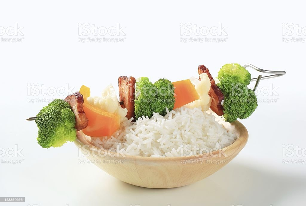 Vegetable skewer with rice stock photo