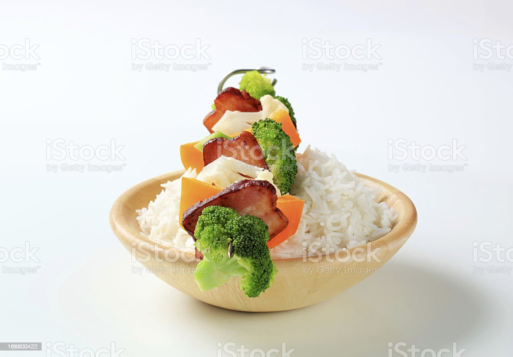 Vegetable skewer with rice royalty-free stock photo