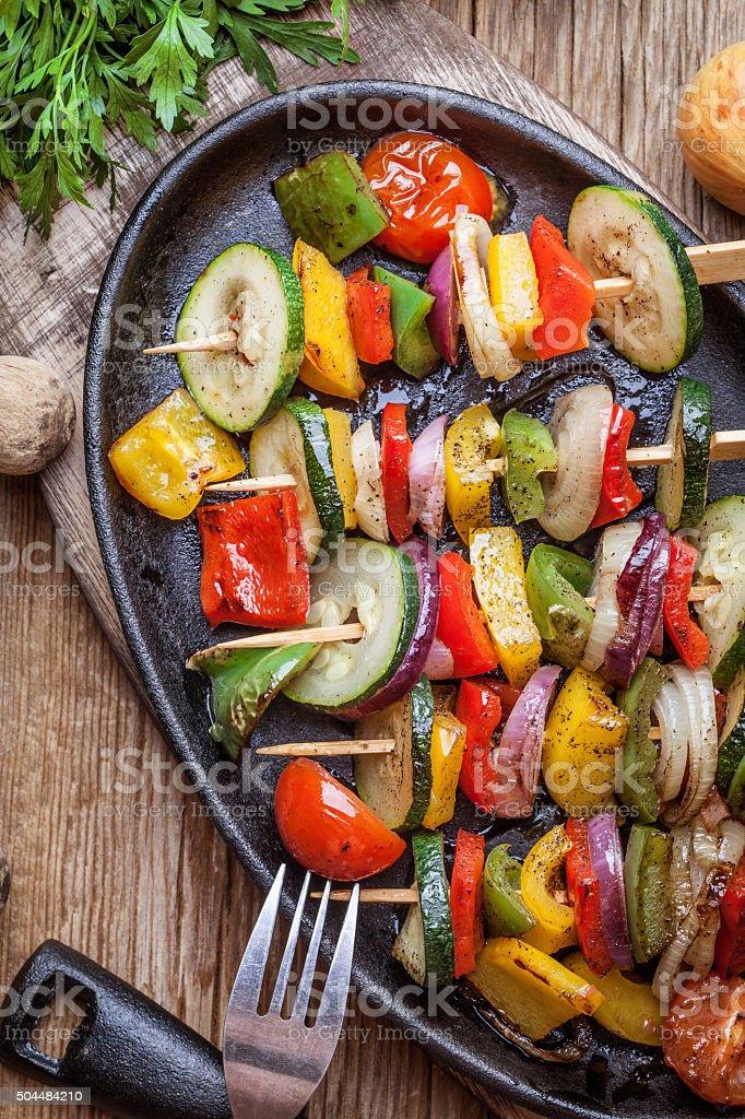 Vegetable skewers. stock photo