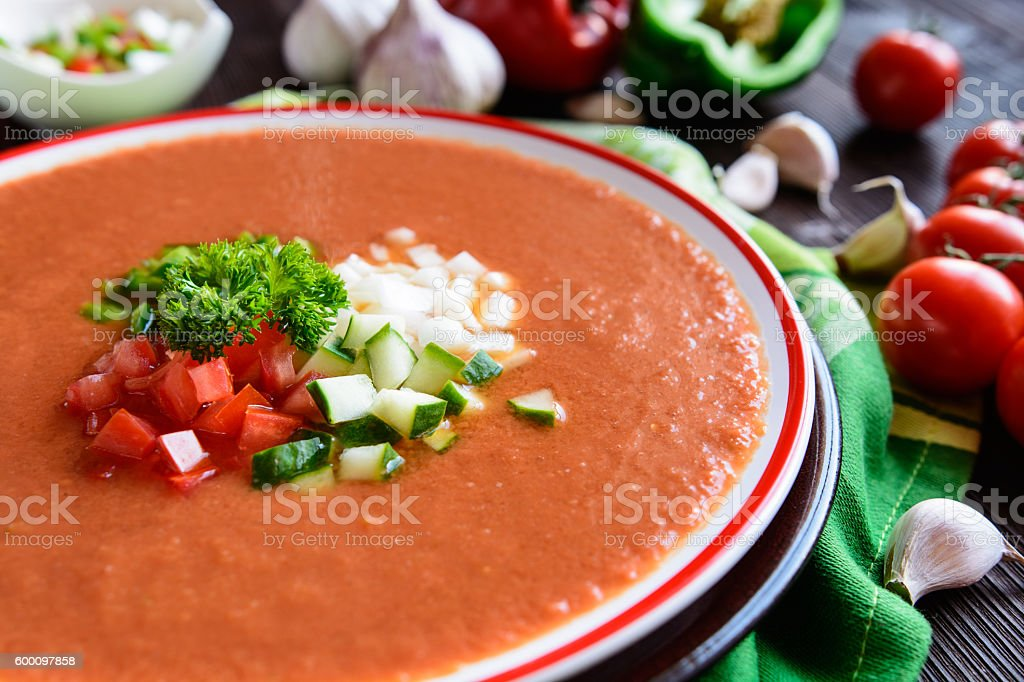 Vegetable soup gazpacho stock photo