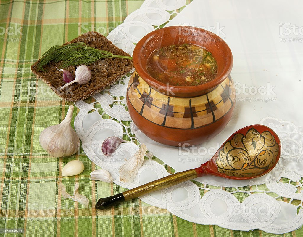 vegetable soup in a ceramic pot (borscht) royalty-free stock photo