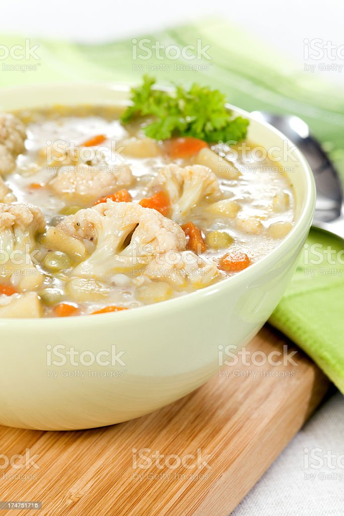 Vegetable soup in bowl royalty-free stock photo