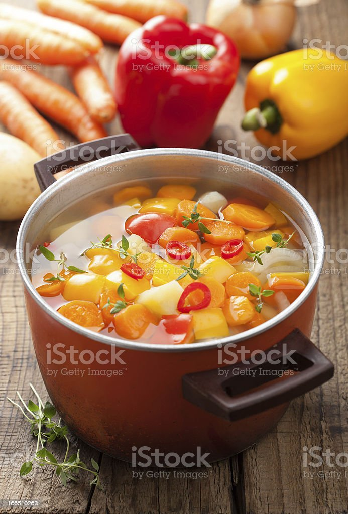 vegetable soup in pot royalty-free stock photo