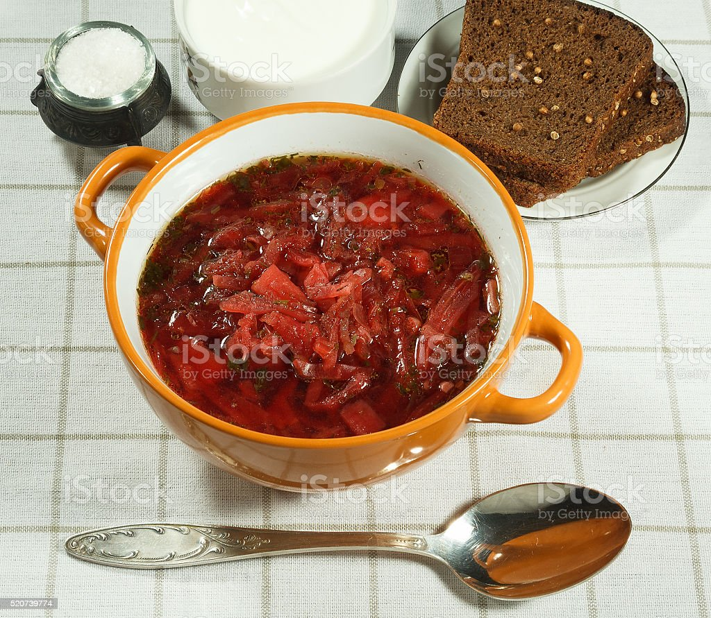 Vegetable soup (borscht).  Traditional Ukrainian soup. stock photo
