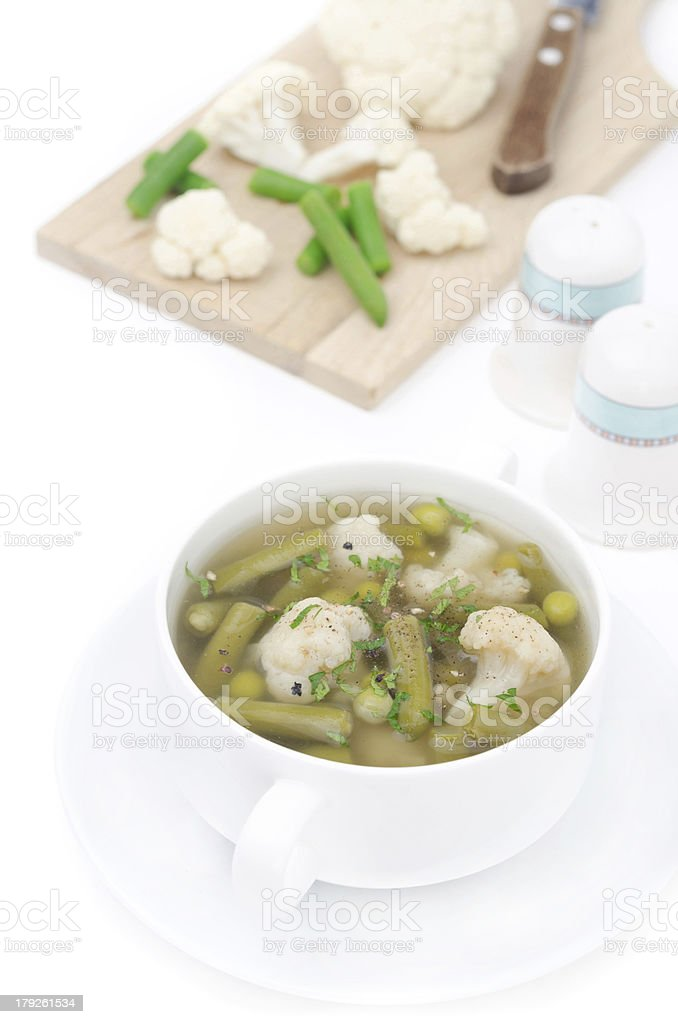 vegetable soup with cauliflower and green beans isolated royalty-free stock photo