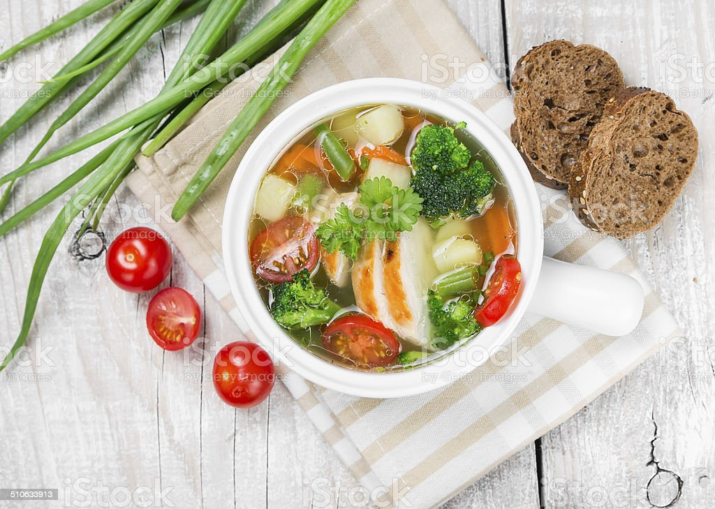 Vegetable soup with chicken stock photo