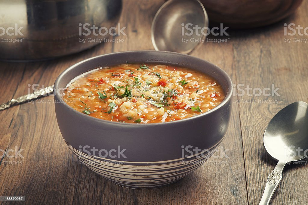 Vegetable soup with lentil and bulgur stock photo