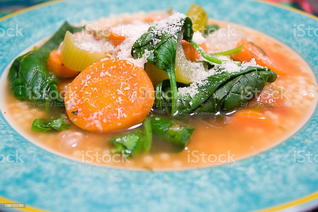 Vegetable Soup with Romano Cheese royalty-free stock photo