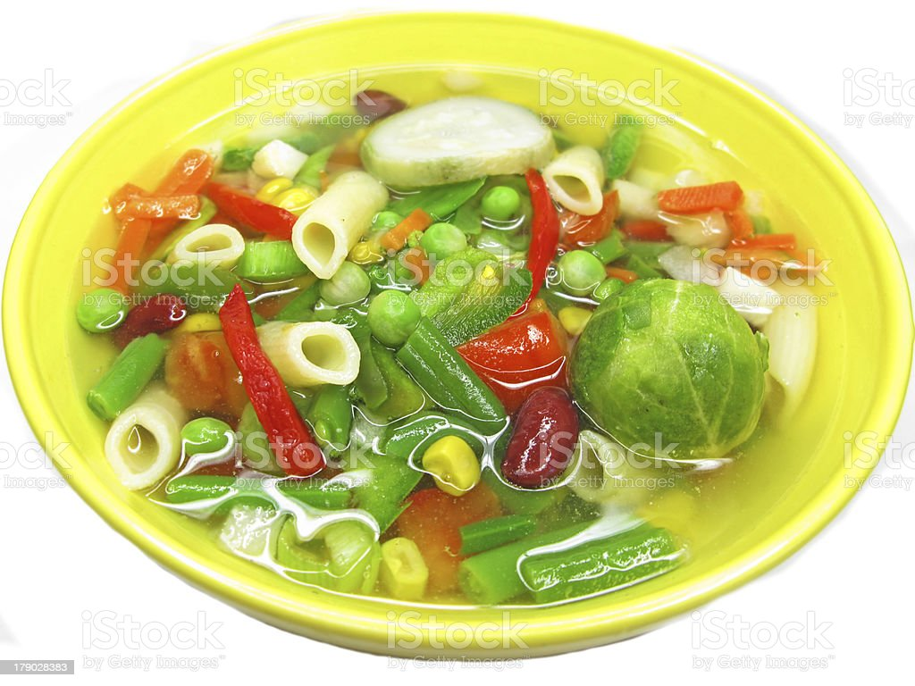 vegetable soup with tomato beans pepper royalty-free stock photo