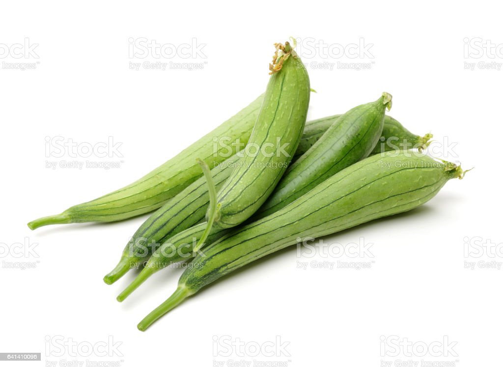 Vegetable sponge gourd  isolated on white background with clipping path stock photo